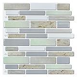 Art3d 12'x12' Peel and Stick Backsplah Tile Self Adhesive Mosaic Backsplash for Kitchen, Jade Design (6 Pack)