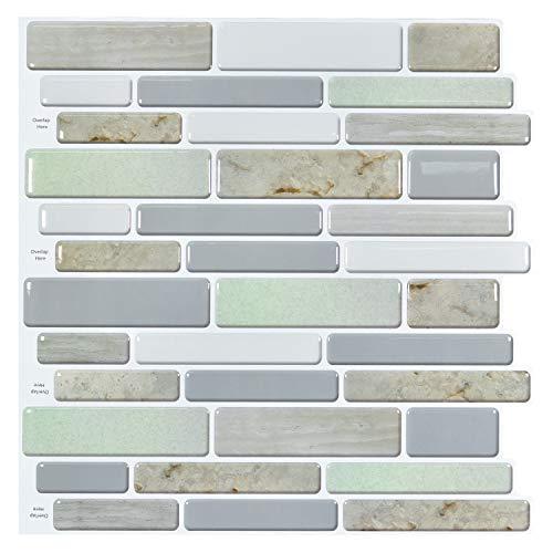 Art3d 12 x12  Peel and Stick Backsplah Tile Self Adhesive Mosaic Backsplash for Kitchen, Jade Design (6 Pack)