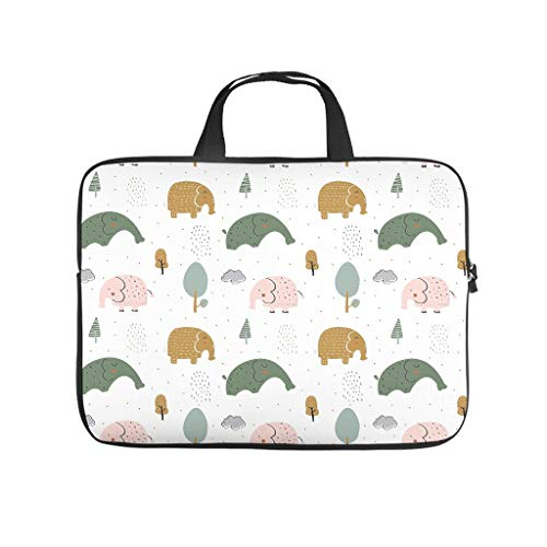 Elephant Animal Laptop Bag Scratch-Resistant Laptop Briefcase Colourful Notebook Bag for University Work Business