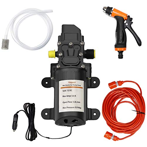 Gioyonil Electric Pressure Washer Pump, 12V 100W Portable High Pressure Power Intelligent Mini Car Water Pump Kit for Auto RV Home Garden Pet Shower