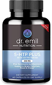 Dr Emil Nutrition 200 MG 5-HTP Plus Serotonin Synthesizers and Cofactor B6 for Improved Serotonin Conversion for Serotonin Boost Mood and Sleep Support 30 Day Supply