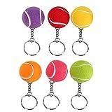 6pcs palla da tennis portachiavi portachiavi portachiavi gioco creativo palla da tennis portachiavi in metallo portachiavi moda appeso decorazione per chiavi, artigianato fai da te