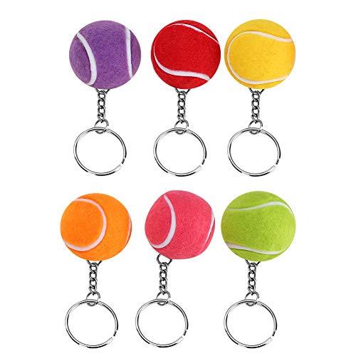 Atyhao Portachiavi con Pallina da Tennis, 6 Colori 4 cm Portachiavi con Pallina da Tennis con Pendenti per Gli Amanti dello Sport Forniture per bomboniere per Bambini