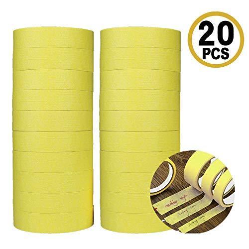 A & Q Abdeckband, hohe Klebekraft, Auto-Kreppband, 30 mm x 50 m, starkes Klebeband, einfaches Abreißen, zum Dekorieren, Malen, Künstler, Basteln, Abklebeband, beige, 20 Stück (gelb)