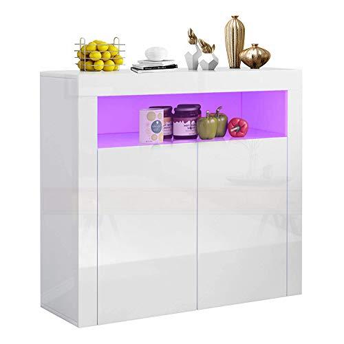 YOLEO Küchenschrank Sideboard mit LED-Leuchte Anrichte matt Hochglanz für Küche Esszimmer Wohnzimmer (weiß, 100 x 92 cm)