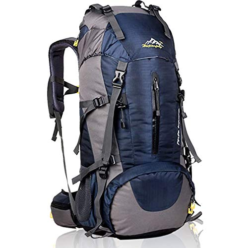 Hiking Backpack 50L Mountain Camping Trekking Daypack Gear with Rain Cover Gray
