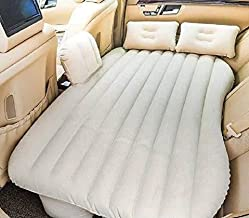 BAWALY Inflatable Travel Car Mattress Air Bed Back Seat Sleep Rest Mat 2 Pillow Pump (Beige)