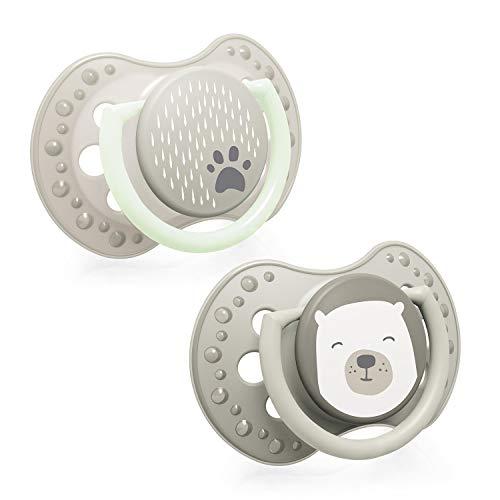 LOVI 2x dynamischer Silikon-Schnuller | ab 6 bis 18 Monate | Hygienische Abdeckung | Komfortabler Ring zum greifen | Schützt den Saugreflex | Leuchtschnuller | BPA frei | Buddy Bear