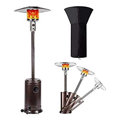 Raoccuy Patio Heater with Cover Propane Gas Portable Commercial Outdoor Heater 48000 BTU Stainless Steel Floor Tall Standing with Wheels for Outdoor Activities,Party (Bronze)