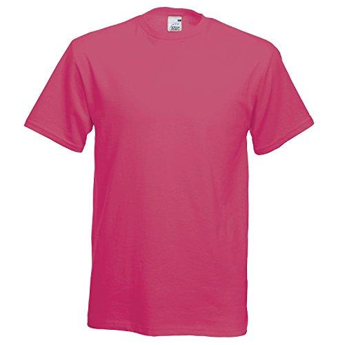 Camiseta de manga corta de Fruit of the Loom para hombre Rosa fucsia Large