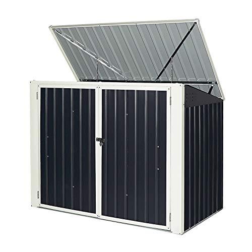 GYMAX Garten Lagerschuppen, Gartenbox aus Metall, Mülltonnenbox mit geräumigem Stauraum, wetterbeständige Gerätebox, mit Türen & Pultdach, mit Dämpfer, abschließbar, Dunkelgrau