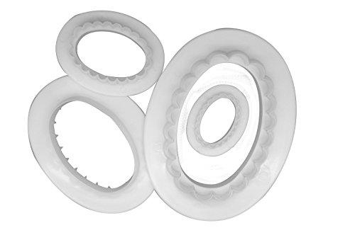 DeColorDulce Lot de 4 Emporte-pièces ovales, Blanc, de 28 x 10 x 5 cm