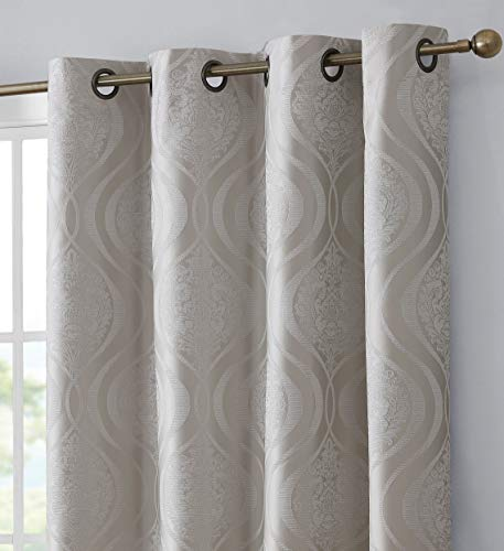 HLC.ME Montero Damask 100% Complete Blackout Thermal Insulated Energy Savings Heat/Cold Blocking Floor Length Grommet Curtain Drapery Panels for Bedroom & Living Room, 2 Panels (52 W x 84 L, Ivory)