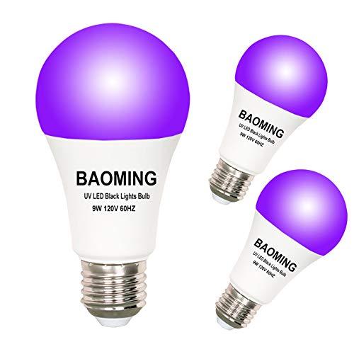 BAOMING LED Black Light Bulb A19 Blacklight 9W (75Watt Equivalent), E26 Base 120V, UVA Level 390-400nm, Glow in The Dark for Blacklights Party, Body Paint, Fluorescent Poster- 3 Pack