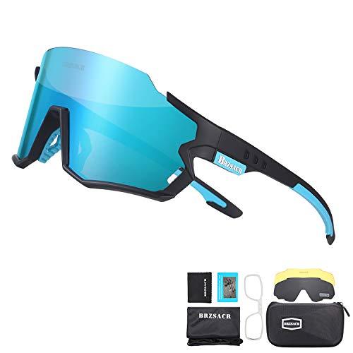 BRZSACR Gafas de Sol Deportivas,CrazyFire UV 400 Protección Gafas Deportivas Polarizadas con 3 Set De Lentes Intercambiables para Hombre Mujer. (Negro Azul)