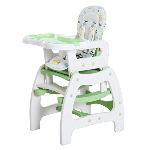 HOMCOM Trona para Bebé 3 en 1 Convertible en Silla Mercedora y Silla+Mesa con Cinturón de Seguridad (Blanco y Verde)