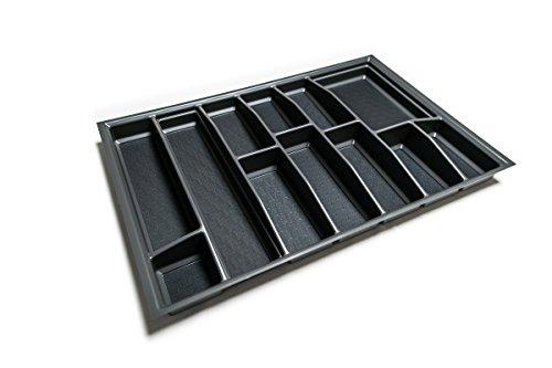 Besteckkasten für 80er Schublade | Besteckeinsatz mit Antirutschboden | Einsetzbar auch in 90er/ 100er/ 120er Schublade | Made in Germany (anthrazit, 710 mm x 480,5 mm (80er Grass))