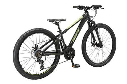 BIKESTAR Hardtail Aluminium Mountainbike Shimano 21 Gang Schaltung, Scheibenbremse 26 Zoll Reifen | 13 Zoll Rahmen Alu MTB | Schwarz Grün