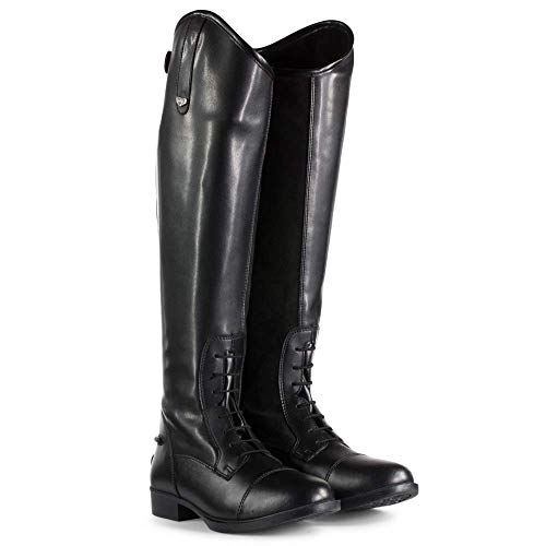 HORZE Women's Rover Tall, Synthetic Leather, All-Weather, Water-Resistant, Comfortable Classic British Horse Riding Field Boots with Laces and Rear Zipper - Black (Legacy), US Size 7.5 Medium