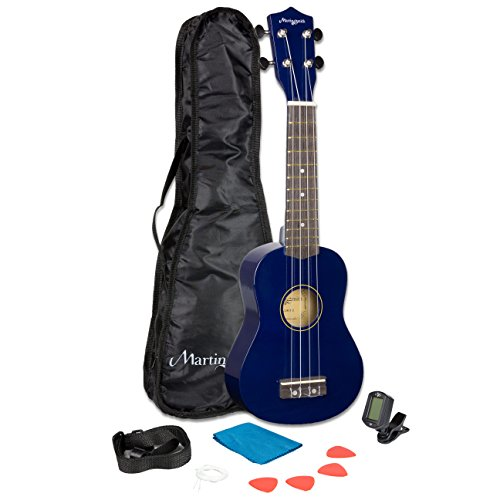 Martin Smith 21 Inch  Soprano Ukulele Starter Kit - Blue, With Tuner, Bag, Plecs, Strap and 2 Months of Lessons