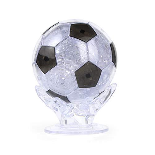 ypypiaol 3D Soccer Crystal Puzzle Modello di Assemblaggio Desk Desk Craft Decor Istruzione Giocattolo per Bambini Regalo Nero