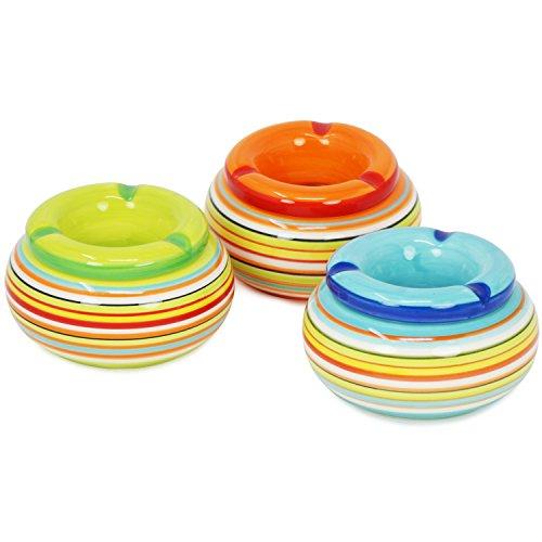 com-four® 3X Posacenere Antivento Realizzato con Le Migliori Ceramiche Dolomitiche, Strisce Colorate, Ø 11 x A 6,5 cm (03 Pezzi - Ø 11cm)