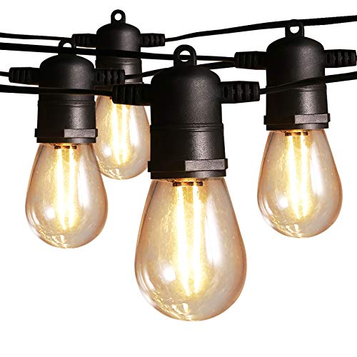 Outdoor String Lights Mains Powered Festoon Lighting 48FT 15+3 LED String Lights, IP65 Waterproof Indoor/Outdoor Lights for Christmas, Garden, Patio, Party, Wedding Decoration