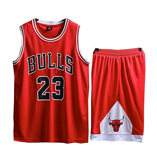 LinkLvoe Sommer Trikots Basketball Uniform, Junge Männer NBA Michael Jordan # 23 Chicago Bulls Retro Basketball Shorts, Shorts Basketball Anzug-Mesh Weste Shirt + Sommer Shorts Größe: L-5XL