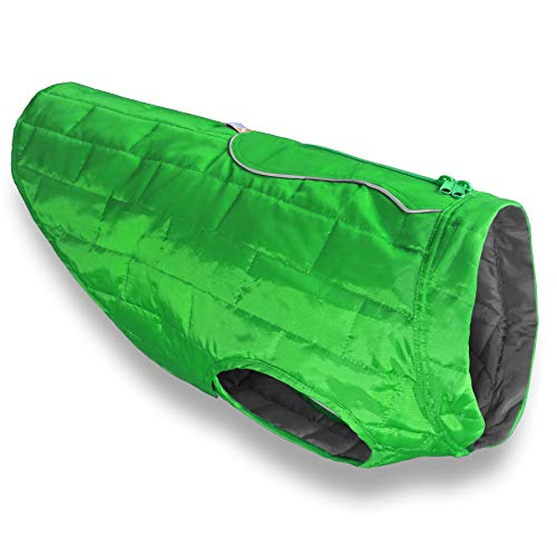 Kurgo Loft Jacket, Reversible Dog Coat, for Cold Weather, Water-resistant Dog Jacket with Reflective Trim, Green/Grey, Medium