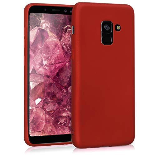 kwmobile Hülle kompatibel mit Samsung Galaxy A8 (2018) - Handy Case Metallic Dunkelrot