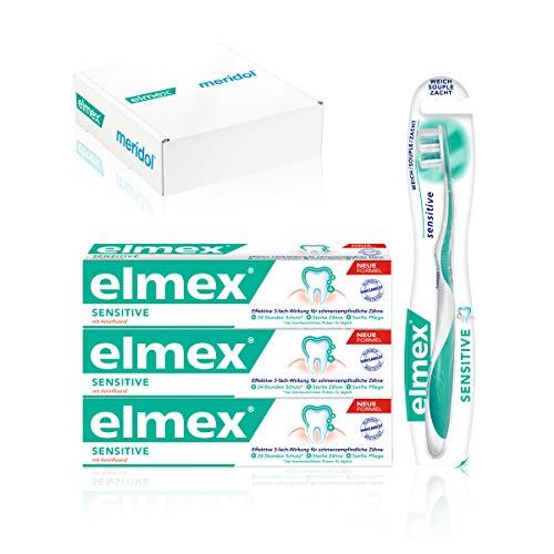 elmex SENSITIVE Sensitive Set für empfindliche Zähne: 3 x Zahnpasta 75 ml + 1 x extra weiche Zahnbürste