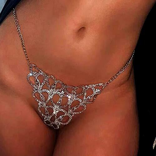 Sethain Boho Strass Unterwäsche Kette Silber Funkelnd Liebe Kristall Bikini Höschen Körperketten Nachtclub Schmuckzubehör für Frauen und Mädchen