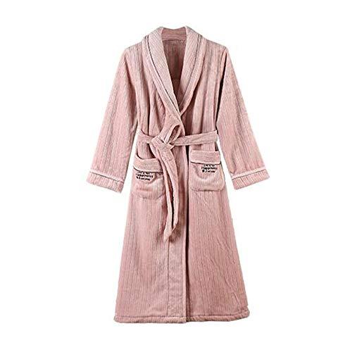 Unbekannt NAN Liang Frauen-Bademantel, Winter Große Größe pajamas100% Baumwolle verdicken weich Casual Wear Taschen EIN Gürtel M/L/XL/XXL/XXXL (Size : XXXL)