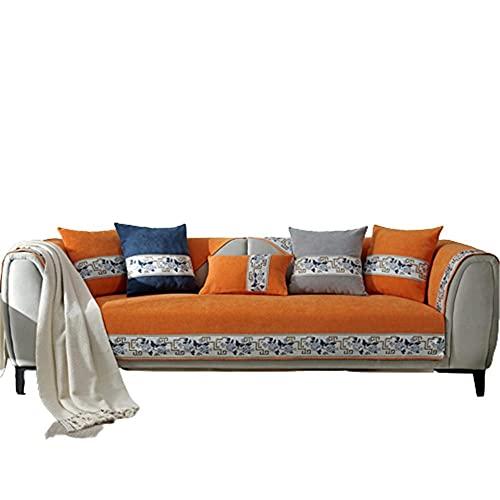 Fundas de sofá clásicas Chinas para Sala de Estar,Funda de sofá para sofá seccional de 1 2 3 4 plazas y Protector de Chaise Longue,Naranja,70 * 240 cm