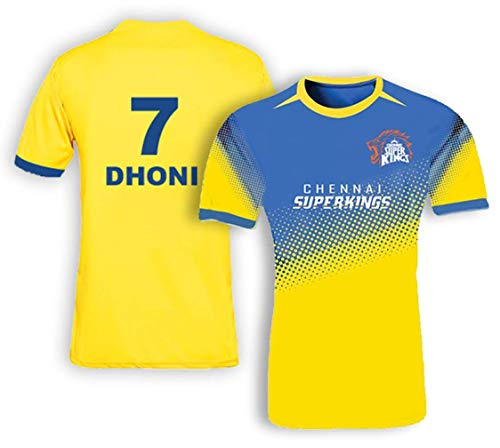 Chennai Super Kings Bleed Yellow Jersey Crewneck (Dhoni #7) (Medium)