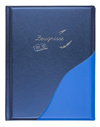Idena 20015 - Zeugnismappe, DIN A4, 12 Hüllen, metallic blau, 1 Stück