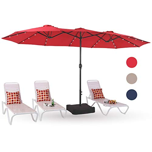 PHI VILLA 15ft Solar LED Large Patio Umbrella Double-Sided Outdoor Market Pool Lighted Umbrellas with 36 LED Lights, Umbrella Base...