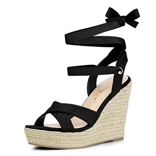 Allegra K Women's Espadrille Platform Lace Up Wedges Black Sandals - 7.5 M US