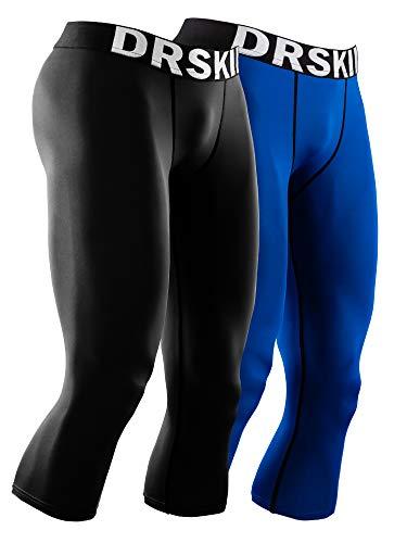 DRSKIN Men's 3/4 Compression Tight Pants Base Under Layer Running Shorts Warm Cool Dry (Line (BB801+BU805), L)