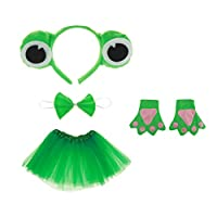 動物 カエル コスプレ 手袋 王冠 ドレス ネクタイ 子供 衣装 贈り物 緑