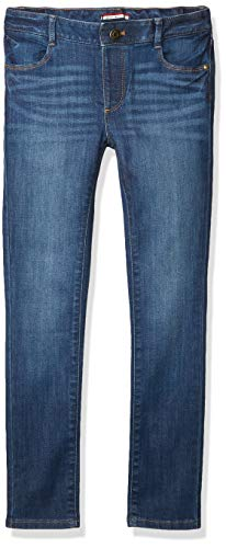 Tommy Hilfiger Girls' Adaptive Skinny Jeans with Adjustable Waist and Magnetic Hem, Toni Tommy WASH, 8