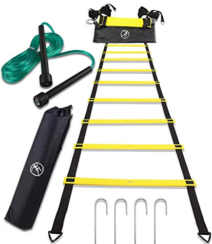 FitnessCHIEF Sport Agility Ladder Set with Jump Rope Equipment Bag for Speed Training,Exercise at Home or Gym or Workout for Kids or Professional, Basketball