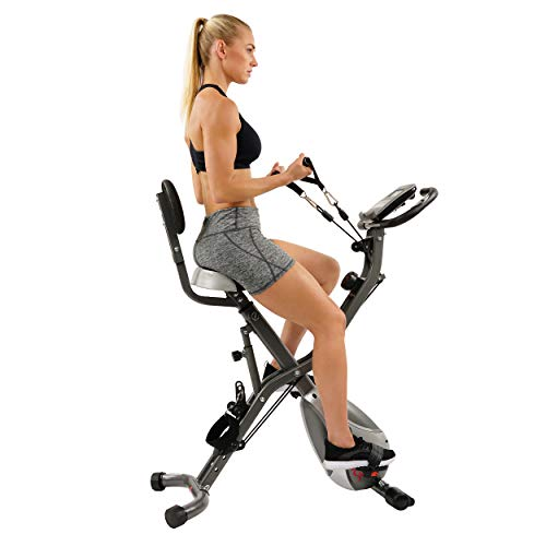 Sunny Health & Fitness Foldable Semi Recumbent Magnetic Upright Exercise Bike w/Pulse Rate Monitoring