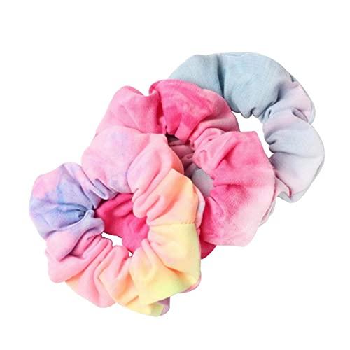 3 unids corbata teñida Scrunchie Pack Accesorios para el cabello para las mujeres y las niñas diademas de goma elástica para el pelo de la cuerda del anillo de cola de caballo
