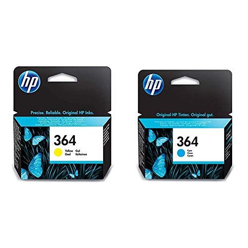 HP 364 Cartouche d'encre d'origine jaune (CB320EE) & 364 cartouche d'encre cyan authentique pour HP DeskJet 3070A et HP Photosmart 5525/6525 (CB318EE)