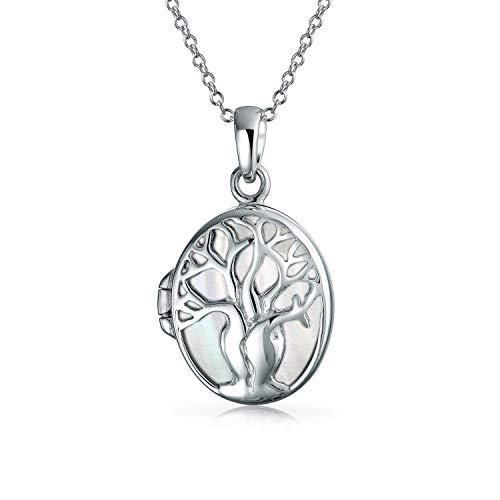 Bling Jewelry Mother of Pearl Oval Celtic Wishing Tree Family Tree of Life Locket Holds Photos Necklace for Women 925 Sterling Silver