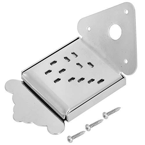 Mandoline Metal Bridge Mandolin Saitenhalter Ersatz für 8/10/12 Loop-End String Mandoline(QB08 Chrome ohne Muster)