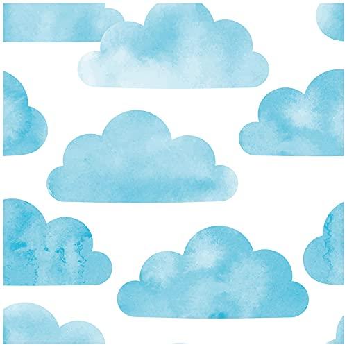 HaokHome 93061 Cloud Peel and Stick - Papel pintado extraíble para decoración de habitación de guardería, 45 x 299 cm