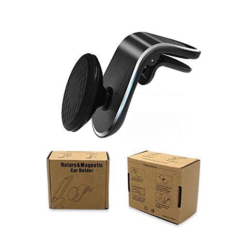 UTECH Soporte magnético para móvil 360 para el Coche, imán Potente, función 360, sujeción en la Rejilla de ventilación, para iPhone, Samsung y demás móviles.