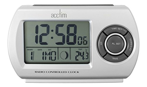 Acctim Denio Silver Digital Radio Controlled Travel & Table Alarm Clock 71117